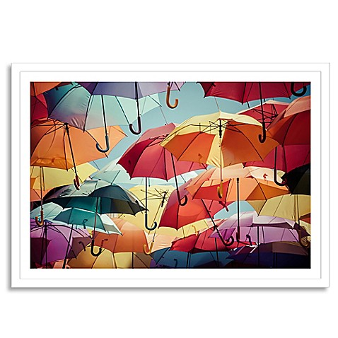 umbrella street extra large framed photographic wall art. Black Bedroom Furniture Sets. Home Design Ideas