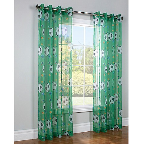 Commonwealth Home Fashions 84 Inch Soccer Window Curtain Panel In Green Bed Bath Beyond