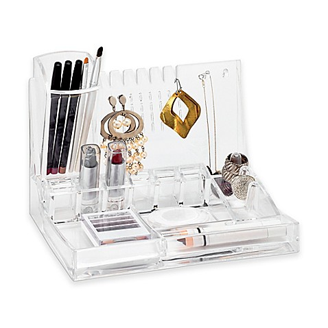 Deluxe cosmetic and jewelry holder in clear bed bath for Bathroom jewelry holder