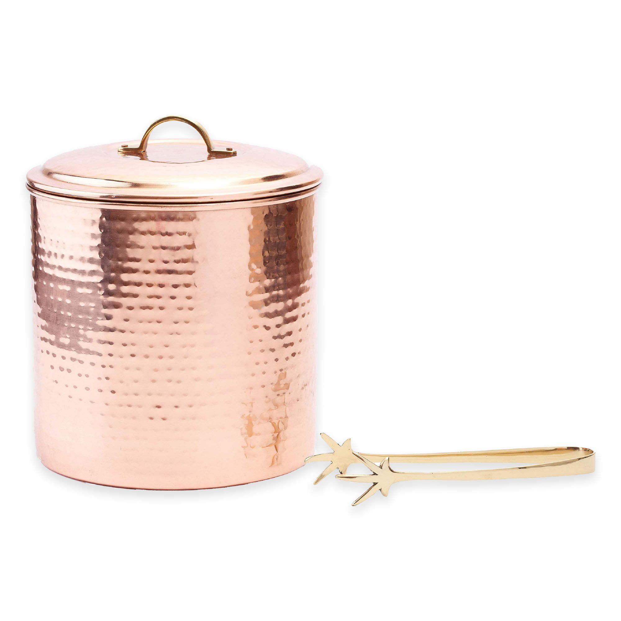 Old Dutch International Copper-Plated Hammered Ice Bucket with Tongs - BedBathandBeyond.com