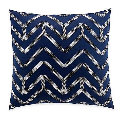 Nautica Decorative Pillows Navy : Nautica Brindley Chevron Embroidered Square Throw Pillow in Navy - Bed Bath & Beyond