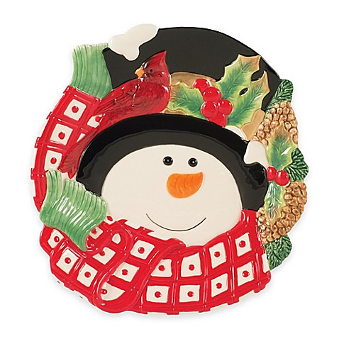 Buy fitz and floyd holly berry snowman canap plate from for Christmas canape plates