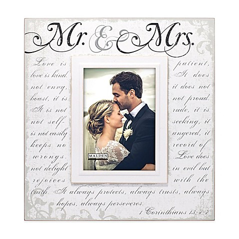 "Malden® 5-Inch x 7-Inch ""Mr. & Mrs."" Photo Frame in White at Bed Bath & Beyond in Cypress, TX 