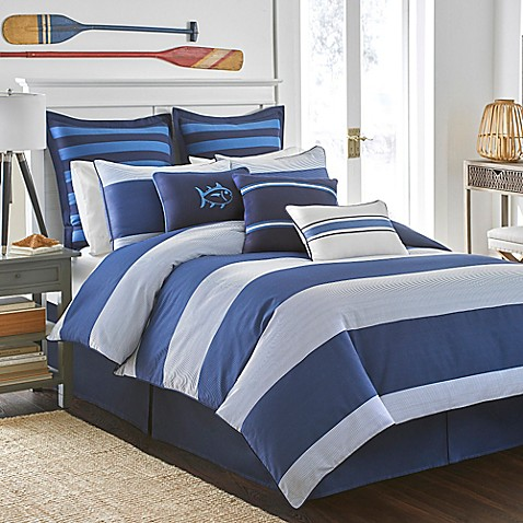 Southern tide dock street stripe reversible comforter set for Southern tide bedding