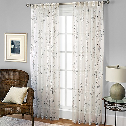 Willow Print Pinch Pleat Sheer Window Curtain Panel Bed