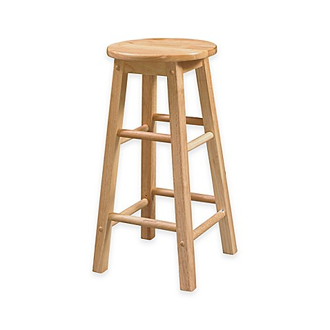 Classic Wood Stools With Round Seat In Natural Finish