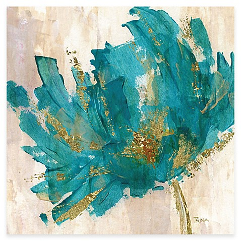 Buy contemporary teal flower i canvas wall art from bed for Where to buy canvas art