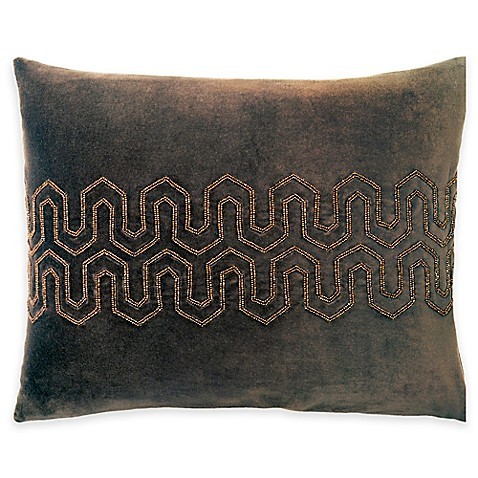 Beaded Velvet Oblong Throw Pillow in Brown at Bed Bath & Beyond in Cypress, TX | Tuggl