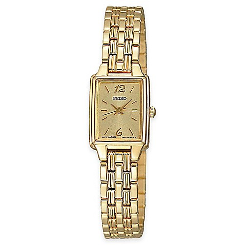 Seiko Ladies' Rectangular Dress Watch In Goldtone Stainless Steel With Champagne Dial by Bed Bath And Beyond