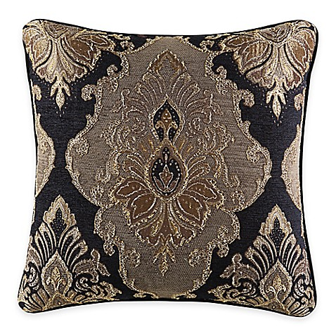 Black Throw Pillows Bed Bath And Beyond : J. Queen New York Bradshaw Black Square Throw Pillow in Black - Bed Bath & Beyond