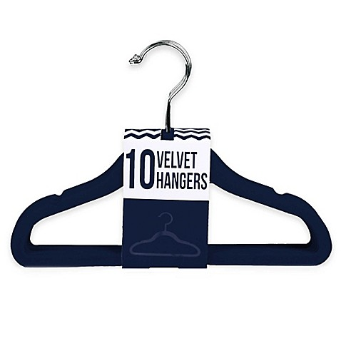 Kids Velvet Hangers in Navy (Set of 10) - buybuy BABY