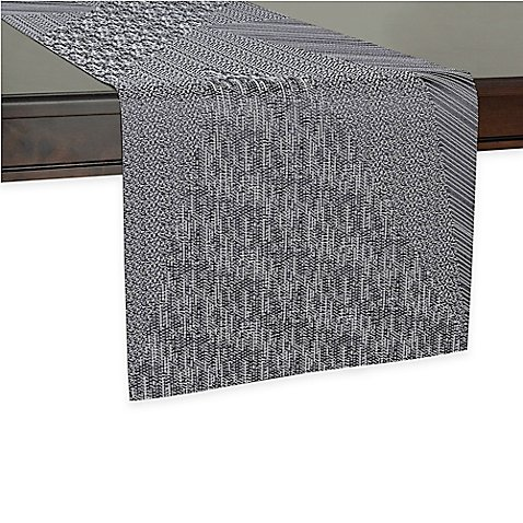 Kenneth cole reaction home spruce table runner in black for 85 inch table runner