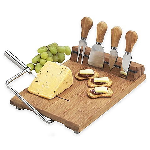 Picnic At Ascot Stilton 6-Piece Bamboo Cheese Board Set | Tuggl