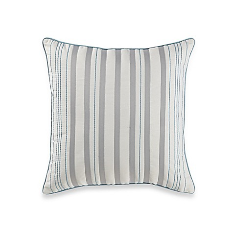 White Throw Pillows Bed : Real Simple Mikayla Square Throw Pillow in Blue/White/Grey - Bed Bath & Beyond