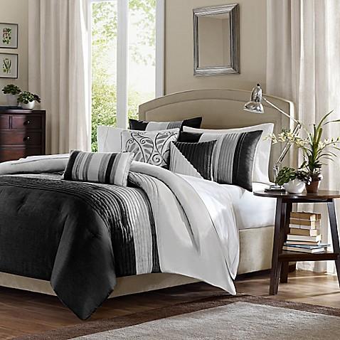 Madison Park Amherst Duvet Cover Set In Black Grey Bed