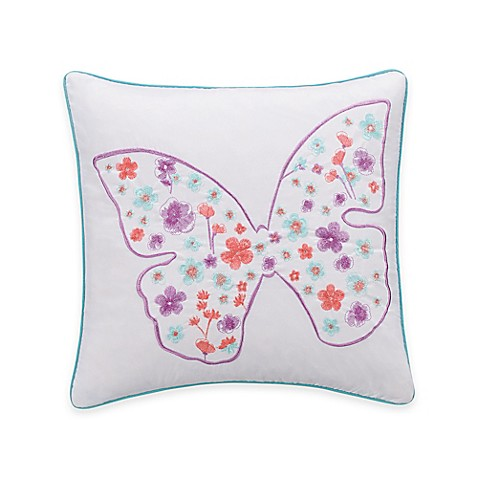 Decorative Pillows > Zoe Butterfly Square Throw Pillow in White from Buy Buy Baby