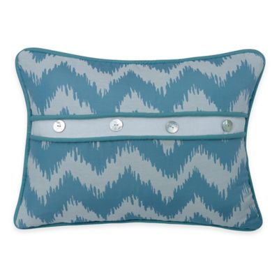 Buy HiEnd Accents Catalina Button Boudoir Throw Pillow in Aqua/White from Bed Bath & Beyond