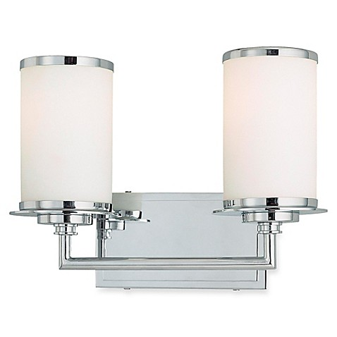 Minka Lavery® Glass Note™ 2-Light Wall-Mount Bath Fixture in Chrome with Glass Shade | Tuggl