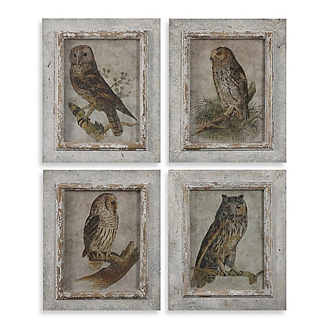 buy uttermost owls framed wall art set of 4 prints from bed bath beyond. Black Bedroom Furniture Sets. Home Design Ideas