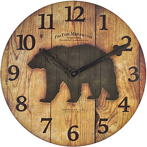 Firstime 174 Bear Restoration Wall Clock In Brown Bed Bath
