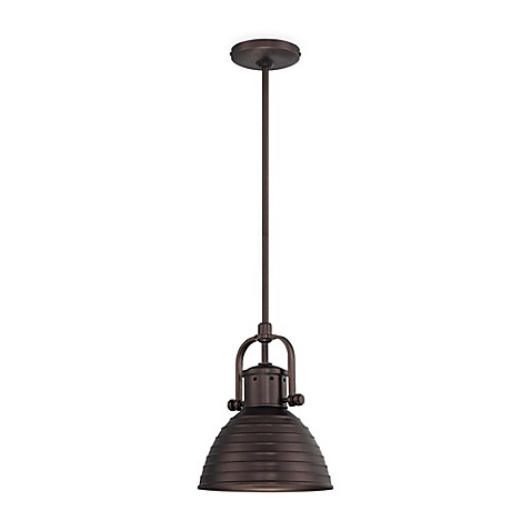 Minka Lavery 1 Light Mini Pendant Light In Bronze With Metal Shade Bed Bath Beyond