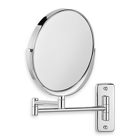 Jerdon wall mount 8x 1x magnifying swivel mirror in chrome - Magnifying wall mirrors for bathroom ...