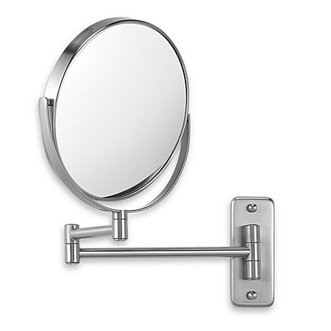 Jerdon wall mount 8x 1x magnifying swivel mirror in nickel - Magnifying wall mirrors for bathroom ...