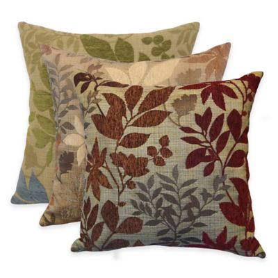 Arlee Home Fashions Bristol Chenille Jacquard Leaf Square Throw Pillow (Set of 2) - Bed Bath ...