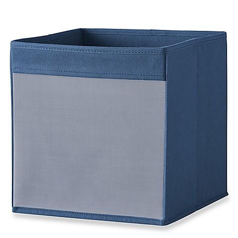 Buy real simple mesh front foldable storage bin in navy for Navy bathroom bin