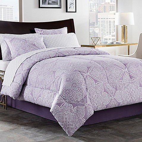 Lea 6 8 piece comforter set in purple white bed bath - Bed bath and beyond bedroom furniture ...