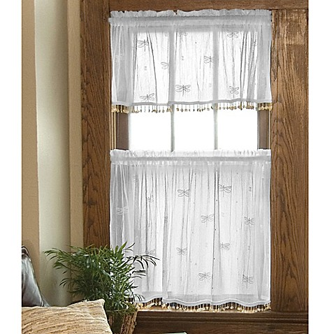 Heritage Lace Dragonfly Window Curtain Tier With Trim Bed Bath Beyond
