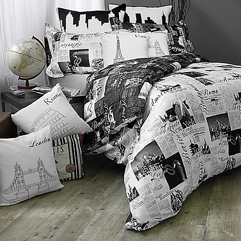 Passport London and Paris Reversible Comforter Set at Bed Bath & Beyond in Cypress, TX | Tuggl