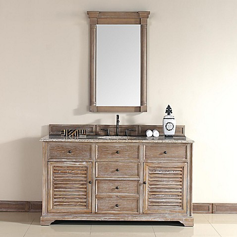 Buy savannah 59 5 inch driftwood vanity cabinet base with for Base kitchen cabinets without drawers