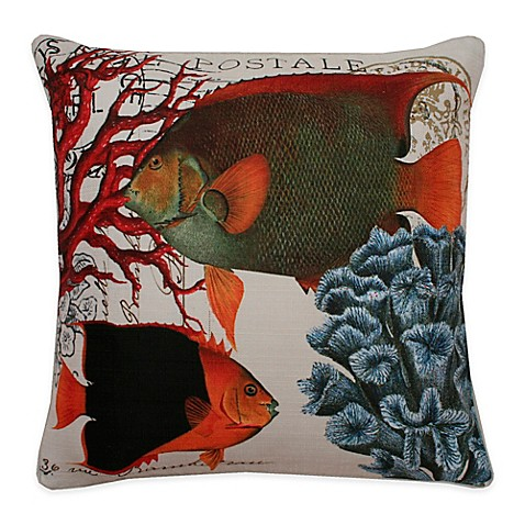 Throw Pillow In French : Thro French Coastal Fish Square Throw Pillow in Orange - Bed Bath & Beyond