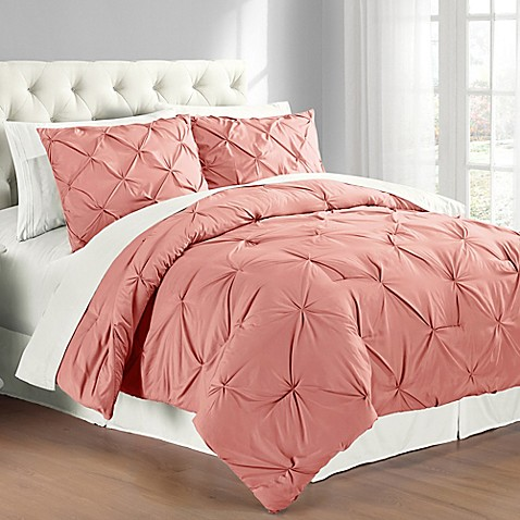 Buy Pintuck King Comforter Set In Coral From Bed Bath amp Beyond