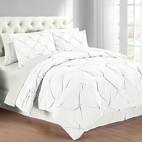 buy pintuck twin comforter set in white from bed bath beyond. Black Bedroom Furniture Sets. Home Design Ideas