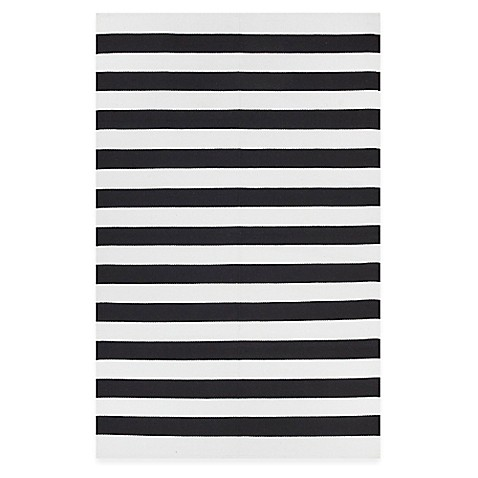Fab Habitat Nantucket Stripe Accent Rug In Black White