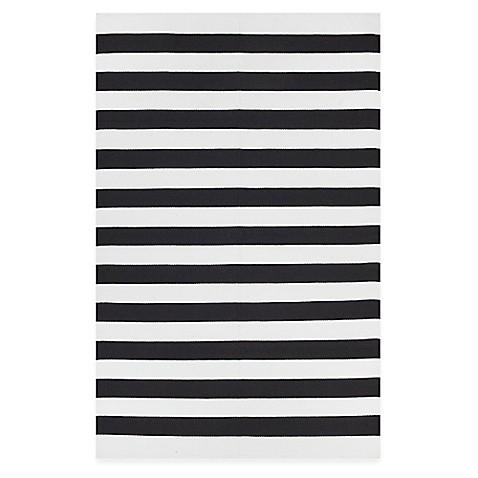 fab habitat nantucket stripe accent rug in black white