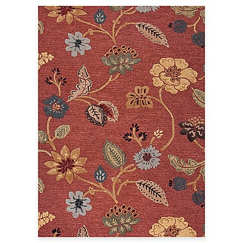 Jaipur Blue Collection Floral Rug In Red Multi Bed Bath