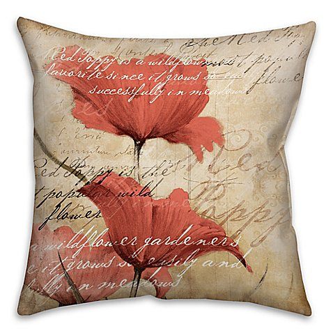 Buy Soothing Poppies 18-Inch Square Throw Pillow in Red/Beige from Bed Bath & Beyond