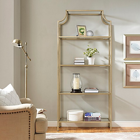 Crosley Aimee Glass Etagere in Gold at Bed Bath & Beyond in Cypress, TX | Tuggl