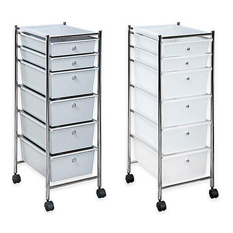 6 drawer plastic rolling storage cart bed bath beyond. Black Bedroom Furniture Sets. Home Design Ideas