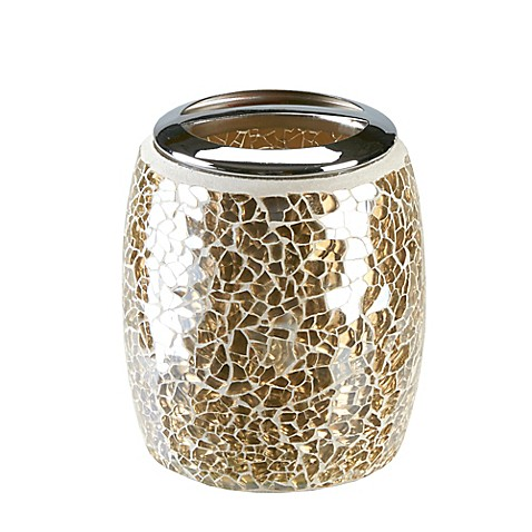 Buy gold crackle mosaic glass toothbrush holder from bed for Gold crackle bathroom accessories