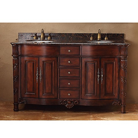Buy james martin furniture tuscany 60 inch double vanity with baltic brown granite top in cherry for Find bathroom vanities
