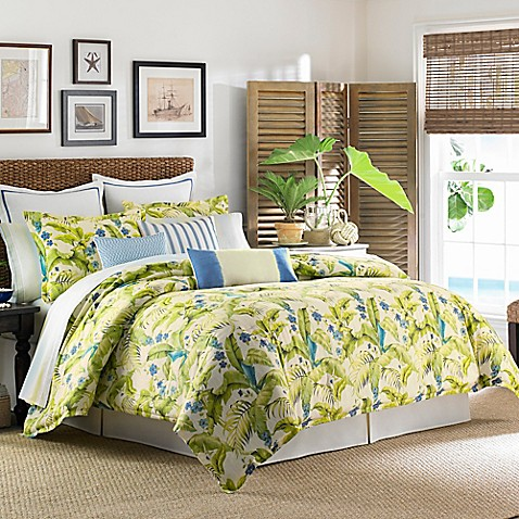 Tommy Bahama 174 Blue Palm Comforter Set In Sea Glass Bed