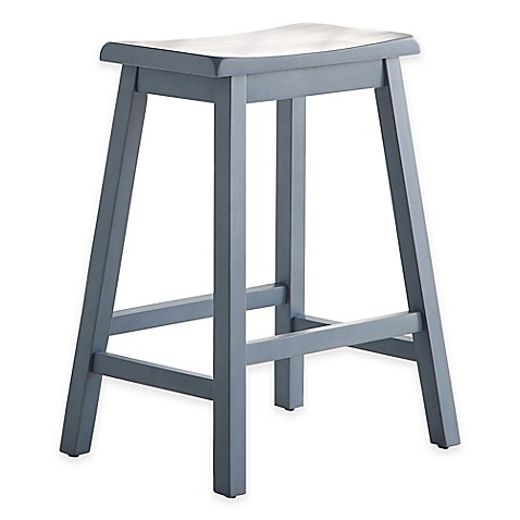 Buy Wood Saddle 24 Inch Counter Stool In Blue From Bed