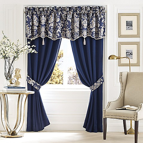Croscill Imperial 18 Inch Canopy Window Curtain Valance In Navy Taupe Bed Bath Beyond