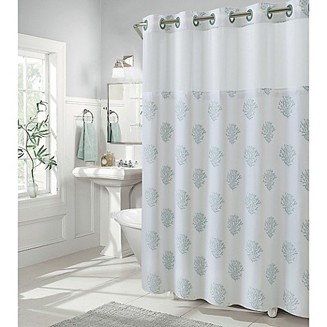 Hookless coral reef shower curtains bed bath beyond for Coral reef bathroom decor
