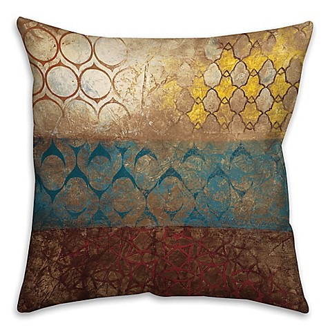 Big Square Decorative Pillows : Buy Big World Patterns 16-Inch Square Throw Pillow in Yellow/Blue from Bed Bath & Beyond