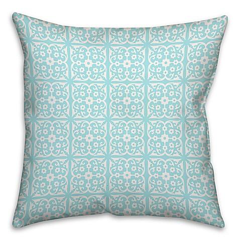 Blue Medallion Throw Pillows : Medallion Square Throw Pillow in Blue/White - Bed Bath & Beyond